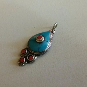 Jewelry - Turquoise red coral pendant Sterling Silver new